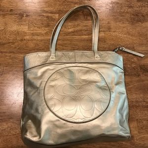 Coach Metallic Gold Brushed Tote